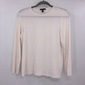 Eileen Fisher White Long Sleeve Petite Top SP